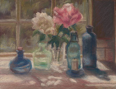 Peonies And Bottles Art Print by Rita Bentley
