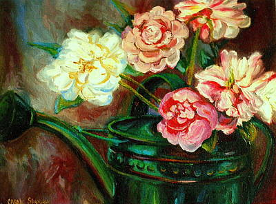 Painting - Peonies And Watering Can My Patio Garden Montreal City Summer Scene  by Carole Spandau