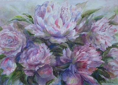 Art Print featuring the painting Peonies by Bonnie Goedecke