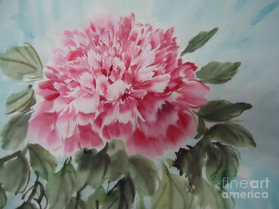 Art Print featuring the painting Peony --2--2012 by Dongling Sun