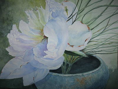 Peony And Grass Art Print