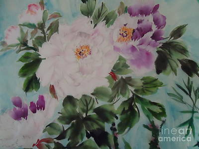 Art Print featuring the painting Peony Qiao --1 by Dongling Sun