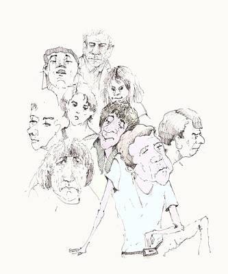 Art Miki Drawing - People 02 by Miki De Goodaboom