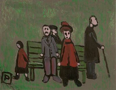 Shipping Mixed Media - People In A Park by Peter  McPartlin
