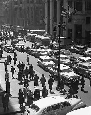 People On Busy City Street W/traffic Art Print by George Marks