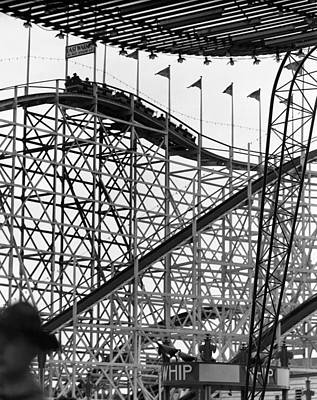 People On Roller Coaster Art Print by George Marks