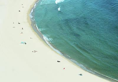 People Relaxing On Beach Art Print by G Fletcher