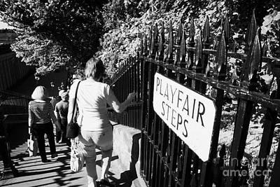 People Walking Down The Playfair Steps Down Into Princes Street Gardens Edinburgh Scotland Uk United Art Print by Joe Fox