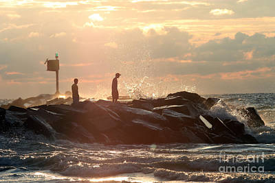 People Walking On New Buffalo Michigan Breakwater Art Print by Christopher Purcell