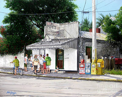 Art Print featuring the painting Pepe's Cafe Key West Florida by Bob  George