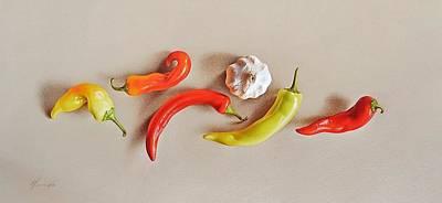 Drawing - Pepper Dance by Elena Kolotusha