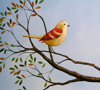 Blue And Red Painting - Perch by Amy Giacomelli