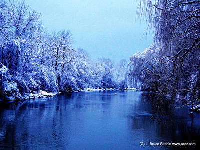 Mixed Media - Perch Creek In Winter Sapphire Hour by Bruce Ritchie