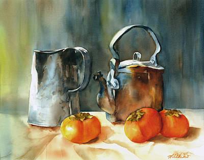 Persimmons Art Print by Michiko Taylor