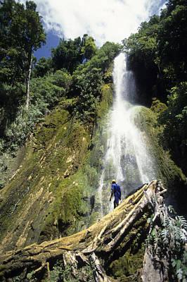 Person At Base Of Mele Cascades Waterfall, Near Mele Maat, Efate Island, Shefa, Vanuatu, Pacific Art Print by Holger Leue