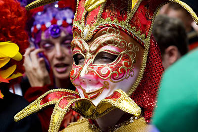 Person In Venetian Mask, New Orleans Mardi Gras Art Print by Ray Laskowitz