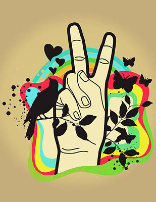 Person Making Peace Symbol, Butterflies And Dove In Background Art Print