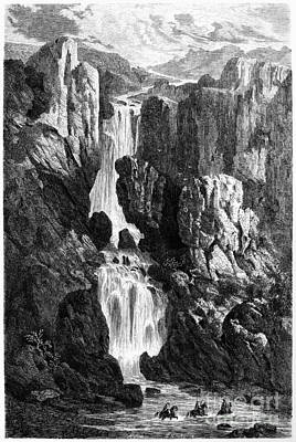 Photograph - Peru: Waterfalls, 1869. The Ocobamba Gorge. Wood Engraving From Voyage � Travers Lam�rique Du Sud (travels In South America) By Laurent Saint Cricq, Paris, 1869 by Granger