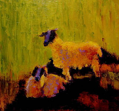 Painting - Pet Goats  by Marie Hamby