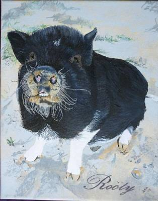 Potbelly Pig Painting - Pet Portrait Memorial Black Pot Bellied Pig Made To Order 3 Inch X 4 Inch With Free Easel  by Shannon Ivins