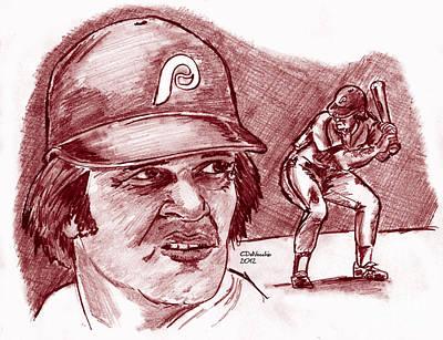 Drawing - Pete Rose Charlie Hustle by Chris  DelVecchio