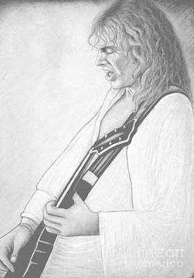 Peter Frampton Black And White Art Print by Denise Haddock