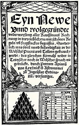 Book Title Photograph - Petrus Apianus's Pascal's Triangle, 1527 by