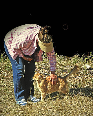 Petting The Ranch Cat Art Print by Lenore Senior and Dawn Senior-Trask