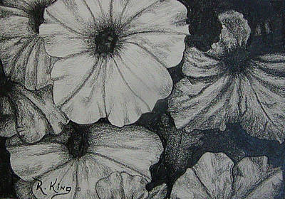 Art Print featuring the drawing Petunia's In The Sun by Roena King