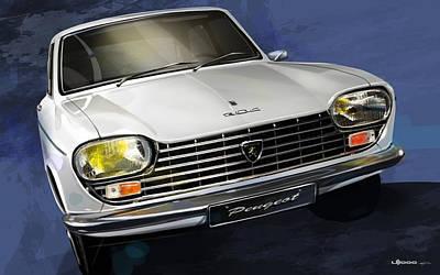 Historic Car Drawing - Peugeot 204 by Uli Gonzalez