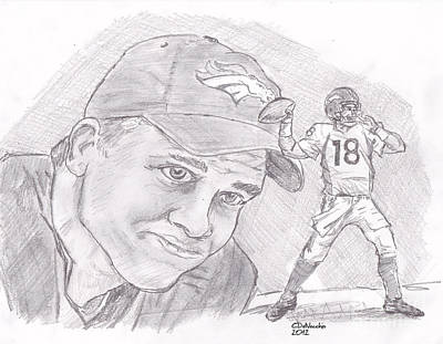 Drawing - Peyton Manning-  by Chris  DelVecchio