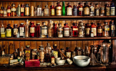 Row Of Bottles Photograph - Pharmaceuticals by SDC Photography by Susan Candelario