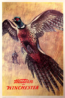 Shotshell Painting - Pheasant Hunter by Unknown