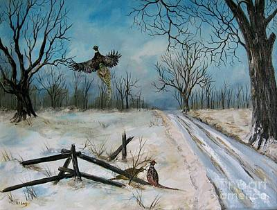 Pheasants In The Snow Art Print