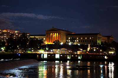 Philadelphia Art Museum And Waterworks All Lit Up Art Print by Bill Cannon