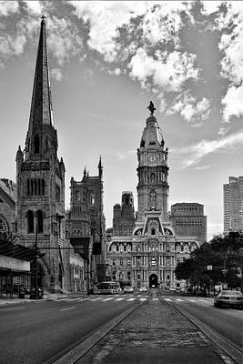 Photograph - Philadelphia City Hall Bw by Susan Candelario