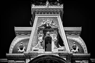Photograph - Philadelphia City Hall Detail At Night by Val Black Russian Tourchin