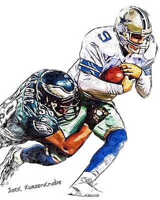 Romo Photograph - Philadelphia Eagles Trent Cole  Dallas Cowboys Tony Romo by Jack K
