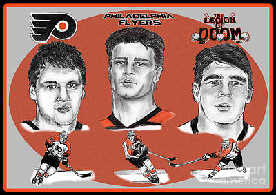Drawing - Philadelphia Flyers Legion Of Doom by Chris  DelVecchio