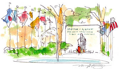 Washington Square Drawing - Philadelphia Park by Marilyn MacGregor