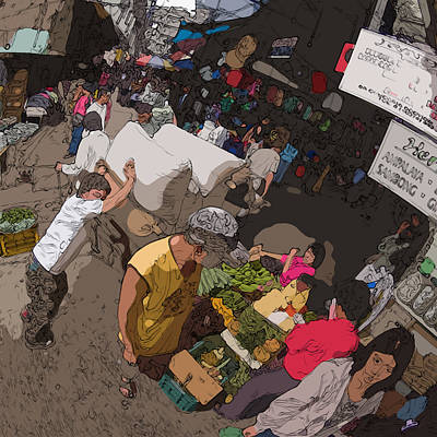 Painting - Philippines 2973 Busy Marketplace by Rolf Bertram