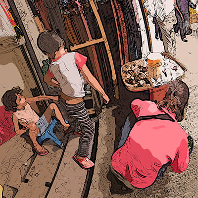 Painting - Philippines 2974 Mom With Two Kids In Market by Rolf Bertram