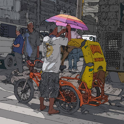 Painting - Philippines 870 Bicycle Taxi by Rolf Bertram