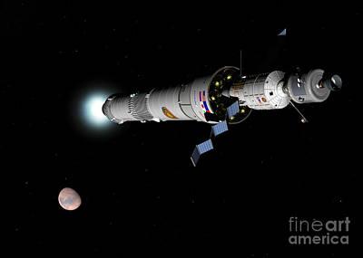 Phobos Mission Rocket Brakes For Mars Art Print