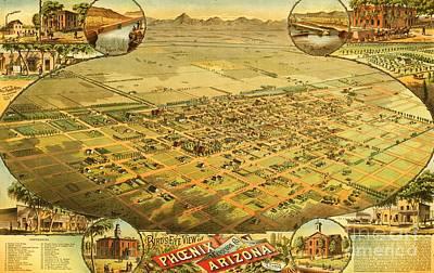 Phoenix Drawing - Phoenix Arizona Territory by Pg Reproductions