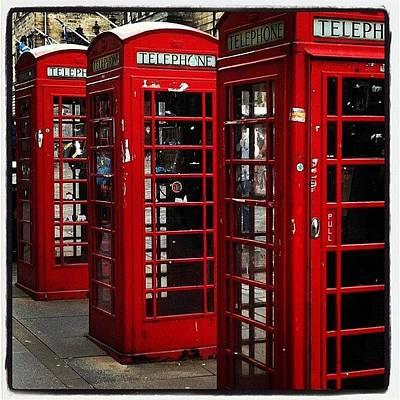 I Phone Photograph - Phone Booths At Royal Mile #edinburgh by Sebastiaan Van der Graaf