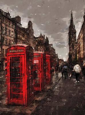 Royal Mile Digital Art - Phone Booths by Wade Aiken