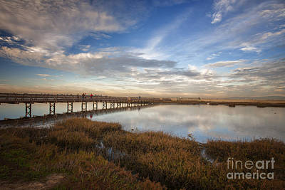 Photographers On Bridge At Sunset Art Print