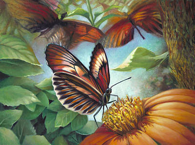 Painting - Piano Key Butterfly Seduction by Nancy Tilles