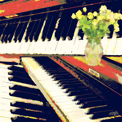 Piano Digital Art - Piano Keys by Arline Wagner